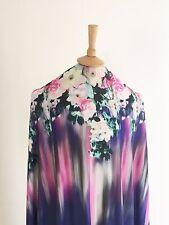 1.1M Stretch Pastel Pink Spring Floral Border Print Dressmaking Jersey Fabric