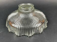 """Vintage Holophane Style Ruffled Ribbed Glass Light Lamp Shade 2 1/4"""" Fitter"""