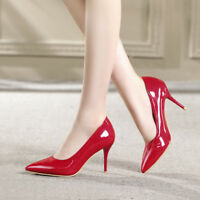Womens High Heel Pointed Toe Patent Leather Pumps Party Shoes UK Plus Size 1-12