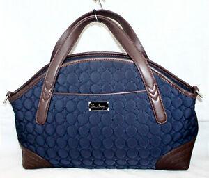 VERA BRADLEY Leather Trimmed Quilted Satchel Shoulder Bag Navy Blue & Brown