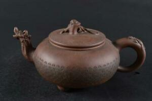 #1692:XF Chinese Brown pottery Lion Dragon sculpture TEAPOT Kyusu Sencha