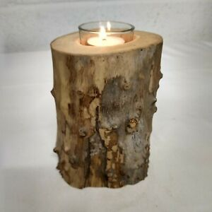 Handcrafted Driftwood Log Rustic Tea Light Candle Holder Decor with Glass Insert