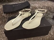 GUCCI YULIA CROCODILE LEATHER THONG SANDALS IN LIGHT SAND MADE IN ITALY SZ 7.5