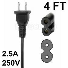 4Ft Us 2-Prong Two Prongs Port Ac Power Cord Cable Connector for Ps2 Ps3 Slim