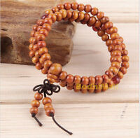 Buddhist Buddha Meditation Wood Prayer 6mm 108 Beads Mala Bracelet - Brown