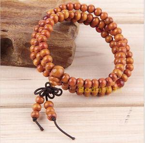 Buddhist Buddha Meditation Wood Prayer 6mm 108 Beads Mala Bracelet - Brown