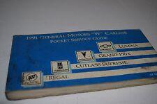 "Vintage 1991 GM ""W"" Carline Pocket Service Guide - Lumina/Grand Prix/Cutlass+"