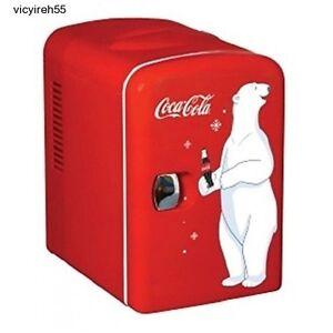 Coke Mini Fridge Small Refrigerator Soda Home Office Vintage Retro Red Beverages