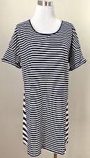 Victoria's Secret Nightshirt M Cotton Blend Stripes Short Slve Scoop Sleep Dress
