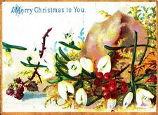 CD95. Small Greetings Card. Snowdrops and berries. Flowers