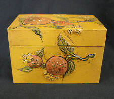 Vtg Fitz and Floyd Wooden Recipe Box Japan Oranges Plus Vtg Recipe Cards