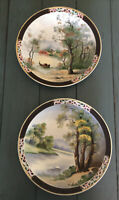 2 Vintage UCAGCO OCCUPIED JAPAN RETICULATED HAND PAINTED COLLECTOR PLATE SIGNED