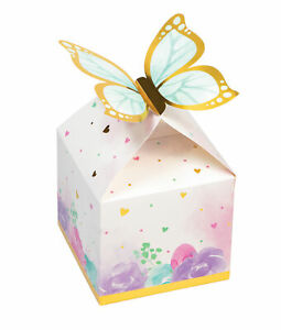 8 x Pretty Butterfly Shimmer Gold & Pastel Favour Boxes Treat boxes