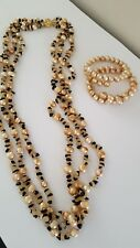 Stunning Freshwater Pearl Tiger Eye Necklace Set