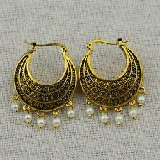Vintage Antique Gold Hollow Out Round with Faux Pearl Tassel Earrings For Women