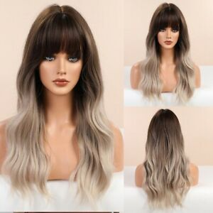Long Wavy Synthetic Wig Ombre Grey Brown Women Daily Party Use Temperature Fiber