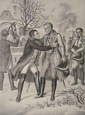 Napoleon mit Kaiser Franz II nach Schlacht Austerlitz, 19. Jh. Litho