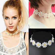 Fashion White Lace Choker Daisy Flower Yellow Collar Statement Necklace Jewelry