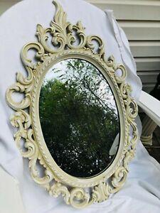 SYROCO Vtg Victorian Scrolled Distressd Oval Wall Mirror  32 x 21