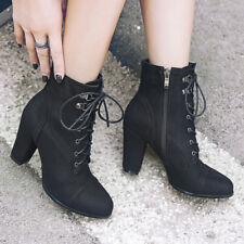 Women Ankle Boots Combat Faux Suede Lace Up Chunky High Heel Casual Winter Shoes