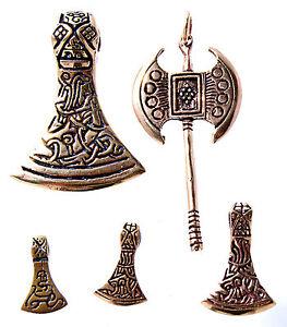 Axe Viking Celtic Battle 5 Models Bronze Band / Chain pendant