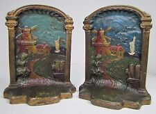 Antique Cast Iron Decorative Art Bookends Seagulls Windmill Ship Landscape