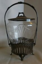 ART NOUVEAU WMF GERMANY BISCUIT JAR- ORIGINAL GLASS LINER- SILVER ON BRASS