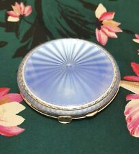Silver Guilloche blue  Enamel Compact  with mirror  1939