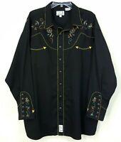 Panhandle Slim Embroidered Western Pearl Snap Shirt Long Sleeve Black Mens XXL