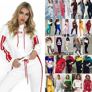 Women's Lady Tracksuit Hooded Sweatshirt Top + Pant Set Sport Casual Lounge Wear