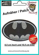 BATMAN -  Patch Aufnäher 6,5 cm hoch und 10,5 cm breit GRAU/SILBER