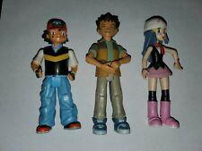 Ash Ketchum, Dawn & Brock Action Figure rare lot of 3Pokemon 2007 Jaaks