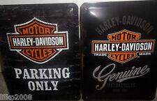 HARLEY DAVIDSON PARKING/GENUINE (PACK OF 2), 20X15cm, EMBOSSED METAL WALL SIGNS