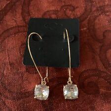 Crystal Stone On Long GF Kidney Wires Pierced Earrings