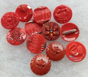 bouton ancien en verre rouge de 1,8 cm