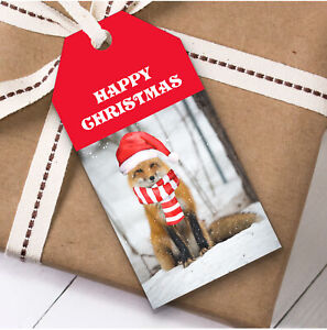 Cute Snowy Red Fox Christmas Gift Tags (Present Favor Labels)