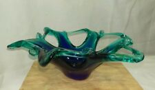 Stunning Murano crystal starfish in navy blue and green centerpiece