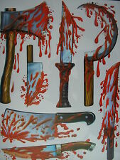 halloween reuseable glass,mirror ,window dripping blood stickers torture tools