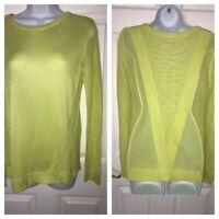 CAbi Sweater Sz SMALL Open Weave Neon Green Mesh Sweater Top Split Back #199