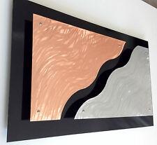 """CONTEMPORARY MODERN METAL WALL ART TITLED """"3D WAVES"""" COPPER & ALUMINUM"""