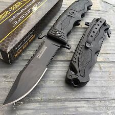 Tac Force Speedster Black Serrated Blade Rescue Folding Pocket Knife