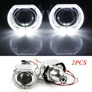 """12V 2.5"""" LED Angel Eye HID Bi-Xenon Projector Lens Headlight Red Devil Demon Eye"""