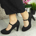 Court Party Shoes High Heel Ladies Womens Mary Jane Platform Suede Buckle Size