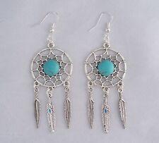 Tibetan Silver Dream Catcher,Turquoise,925 Silver Sterling Hook 6 cm Earrings
