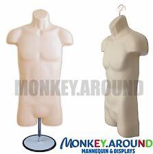 Male Mannequin,Clothing Display Body Dress Hip Torso Hanger Form & Stand - Flesh