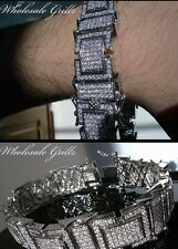 """NEW$389 MENS 7.5""""SIMULATE DIAMOND 14K WHITE GOLD GP ICED OUT MICRO PAVE BRACELET"""