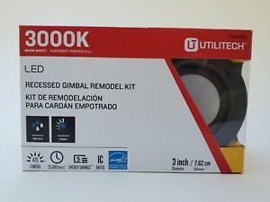 "3"" Utilitec 3000K LED Recessed Gimbal Light Remodel Kit #0831967"