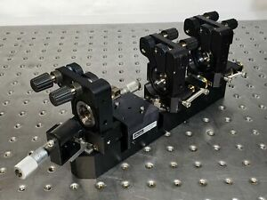 3 Gimbal Mirror Mount w/ Linear Slide Stages on Rail for Bowtie Laser Resonator