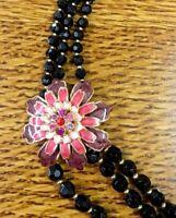 "Vintage Black Bead Enamel Flower Triple Strand Necklace Estate 24"" - 27"" Adj"