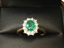 Emerald Diamond Yellow Gold Oval Fine Gemstone Rings